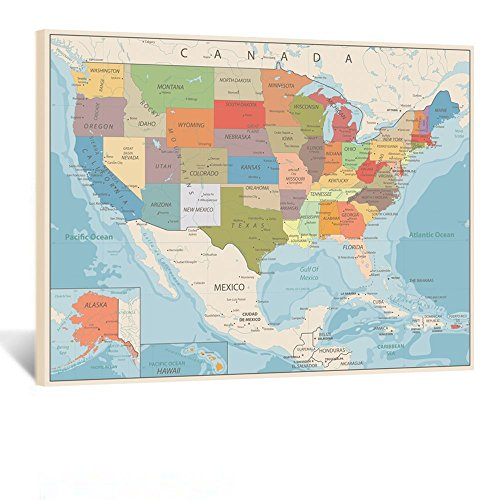 Kreative Arts Canvas Art Map Painting of United States of America Wall Decor Poster and Prints Gallery Wrapped Ready to Hang for Living Room Bedroom Study Room Office Home Decor 24x32inch (Gallery Poster Print)