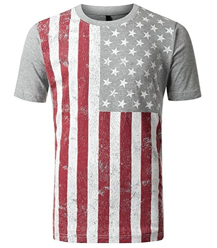 Allonly Mens Hipster Sleeveless Tee Round Neck Sweatshirt Tank Cotton Vest American Flag Printed Fitness Sport Tank