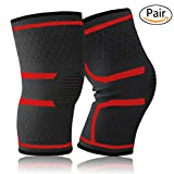 Slimerence Knee Sleeve, Knee Brace Compression Support for Sports, Running, Jogging, Basketball, Joint Pain Relief and Meniscus Tear Injury Recovery More Fits Men and Women Red S
