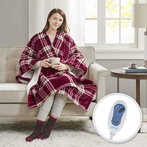 Comfort Spaces Electric Heated Throw Blanket Wrap Ultra Soft...