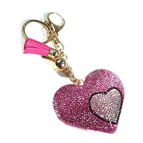 Teri's Boutique Two Double Hearts Crystal Rhinestone Cushion Style Charm Pendant Keychain (Pink)