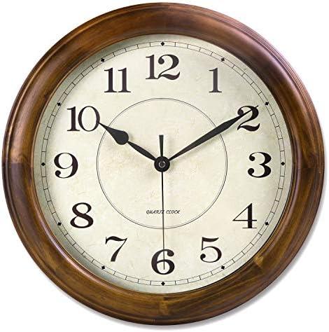 Kesin Wall Clock Wood 14 Inch Silent Wall Clock Large Decorative Battery Operated Non Ticking Analog Retro Clock