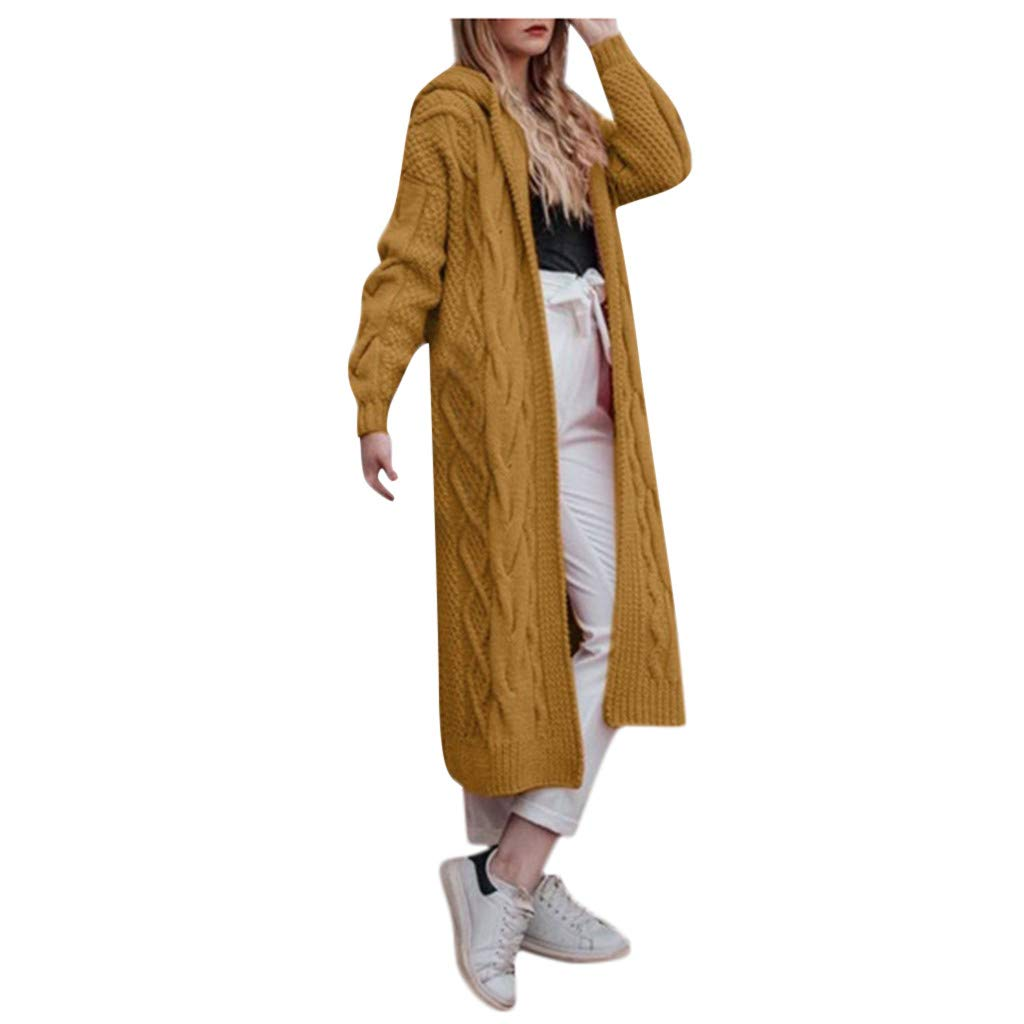 Spring Color  Womens Casual Solid Long Sleeve Open Front Hoodie Cardigan Knit Long Cardigan Kimono Sweaters Coat Yellow by 🍒 Spring Color 🍒