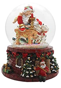 lightahead polyresin musical christmas snow globe with santa making his list falling snowflakes music