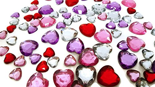 Heart Pieces (Playscene Craft Jewels With Self Adhesive Back, Hearts Theme - 100 Piece Set (Multicolored Hearts))
