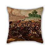 PaPaver oil painting Circle of Juan de la Corte - The Burning of Jerusalem by Nebuchadnezzar's Army throw pillow covers 18 x 18 inches / 45 by 45 cm for boys,bar,study room,him,home theater,birth