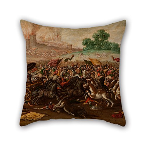 - Artistdecor Oil Painting Circle Of Juan De La Corte - The Burning Of Jerusalem By Nebuchadnezzar's Army Cushion Cases 20 X 20 Inches / 50 By 50 Cm Gift Or Decor For Wife,deck Chair,gf,coffee Hous