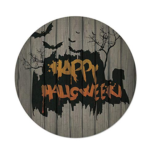 iPrint Cotton Linen Round Tablecloth,Halloween Decorations,Happy Graffiti Style Lettering on Rustic Wooden Fence Scary Evil Artwork,Multi,Dining Room Kitchen Table Cloth -