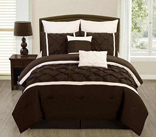 Legacy Decor 8 PC Brown and Cream Pintuck Brushed Microfiber Queen Comforter Bedding Set