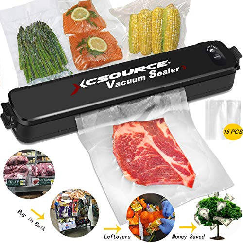 Vacuum Seal Food Saver, Automatic Vacuum Air Sealing System for Sous Vide Cooker with 15pcs Sealer Bags, Food Preservation No Freezer Burn, Fridge Space Saver Save Money on Keep Fresh, ()