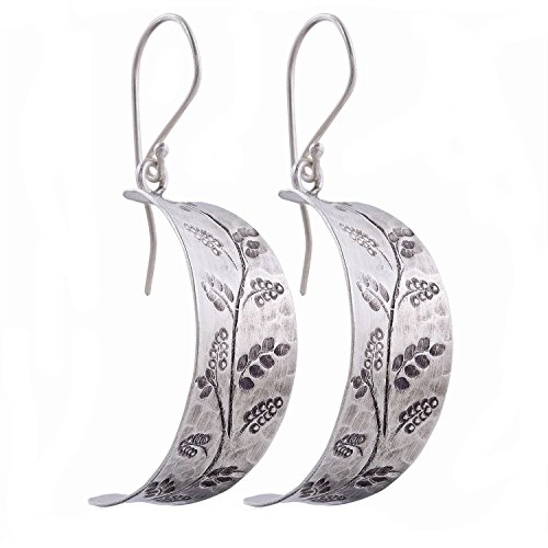 Nice Curvy Dangle Karen Hill Tribe Design Flower Earring Pure Silver
