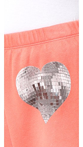 Wildfox Mujer My Disco Heart Pantalones Rojo eléctrico