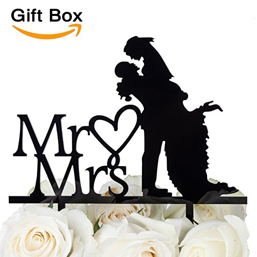 LOVENJOY - Gift Box - Wedding Cake Toppers Bride and Groom Silhouette - To Have and To Hold (6-inch, Black)