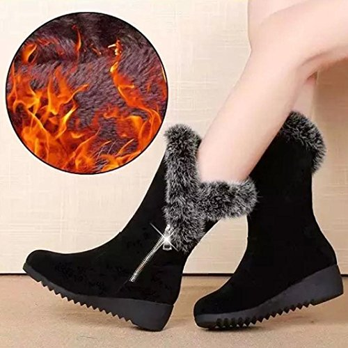 Gillberry Women Boots Zipper Wedges Med Flatform Faux Fur Black Snow Boots Shoes Black