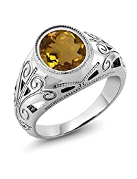 4.30 Ct Oval Whiskey Quartz 925 Sterling Silver Men's Ring