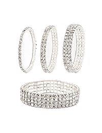 Daycindy Stackable Bracelets Fake Diamond Bracelet for Women, Pack of 4 or 1