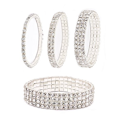 Daycindy Multi Row Crystal Bracelet for Women, Pack of 4