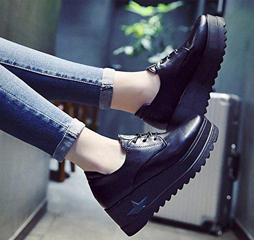 KHSKX-Biskuitteig Dicke Quadrat Klein Leder Schuhe Studierenden Erhöht Wild Sportliche Frauen Schuhe Schwarz 6 Cm Einzelne Schuhe 38