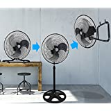 Kool-it 3 in 1 Premium Large High Velocity Industrial Black Floor Fan 18 Floor Stand Mount Oscillating