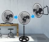 Kool-it 3 in 1 Premium Large High Velocity Industrial Black Floor Fan 18'' Floor Stand Mount Oscillating