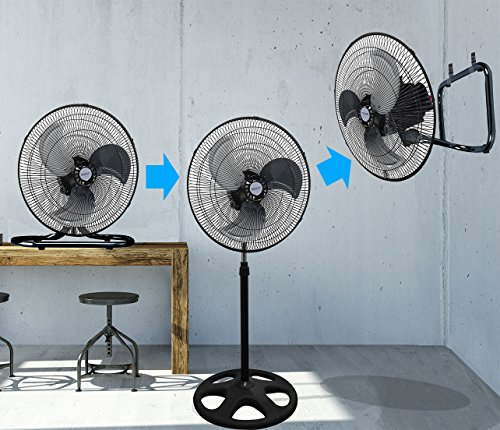 Kool-it 3 in 1 Premium Large High Velocity Industrial Black Floor Fan 18