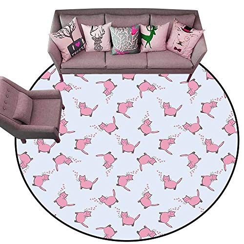 Floor mats for Kids Cat Lover,Romantic Pink Cats in Cartoon Style Drawing with Little Hearts Kitty Whiskers,Pale Grey Pink Diameter 78