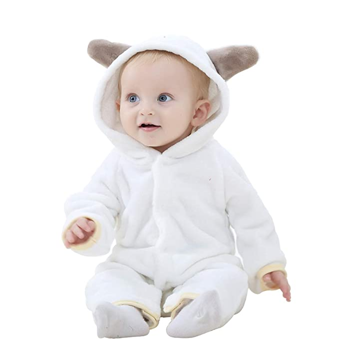 Disfraz Bebé Traje Encapuchado Franela Pijama Infantil Pelele con Capucha Mameluco Jumpsuit Animal Dibujo Animado Cómodo
