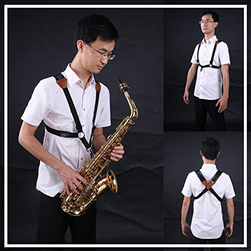 Jiuxun Saxophone Strap Adjustable Soft Padded Sax Shoulder Strap of Harness Design for Bass Tenor Alto Saxophone with Snap ()