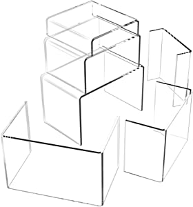 Huaxiangoh 6PCS Clear Acrylic Risers for Display,Home Decor Jewelry Display Riser Shelf Showcase Fixtures and Showcase Shelf for Figures, Buffets, Cupcakes No Sticky Protective Film by Art of Acrylic