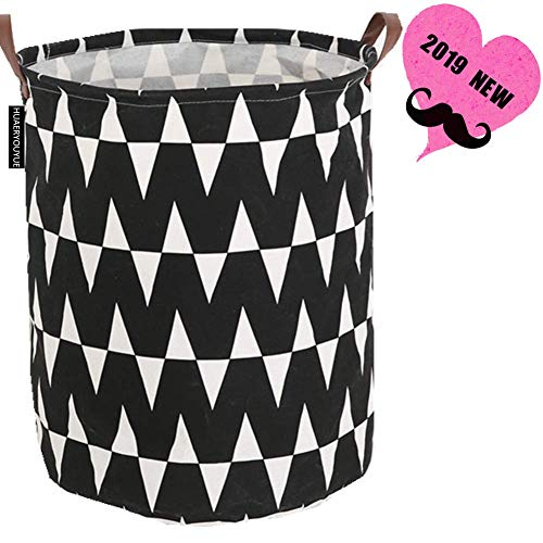 (HUAERYOUYUE Large Storage Bin,Canvas Fabric Storage Baskets with Handles,Boy and Girl Laundry Basket Collaspible Hamper for Household,Gift Baskets,Toy Organizer Waterproof PE Coatin (3 Waves))