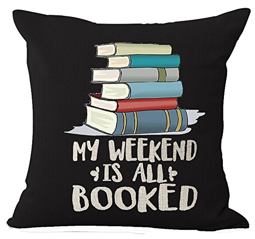 Book Lover Book Club Librarian Reading Books Beige My Weekend Is All Booked Cotton Linen Throw Pillow Case Cushion Cover NEW Home Office Indoor Decorative Square 18 X 18 Inches