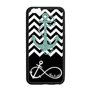 5.5inches Slim And Stylish Black Block Chevron Zigzag Infinity Anchor Quotes I refuse to Sink Pattern iPhone 6 Plus TPU(Laser Technology) Case Cover for White And Black wangjiang maoyi by lolosakes