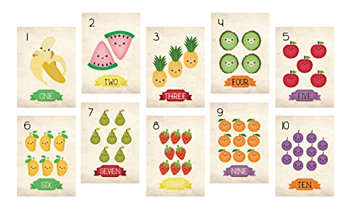 - Nursery Decor, Fruits Counting Cards, Number Flash Cards 1 - 10, Kid's Decor, Eco-Friendly Print, Wall Letters And Numbers