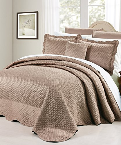Home Soft Things Serenta Matte Satin 4 Piece Bedspread Set, Queen, Taupe