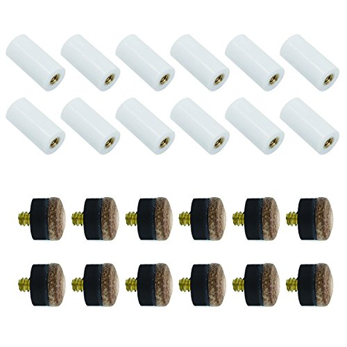 Y-luck 13mm Brown Cue Tips Billiard Replacement Screw-on Tips with Pool Cue Stick Ferrules 12 Pcs Hard Cue (13mm Cue)
