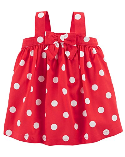 Carter's Baby Girls' 0M-24M Summer Dresses with Diaper Covers (Red Polka Dot/Bow, 3 Months)