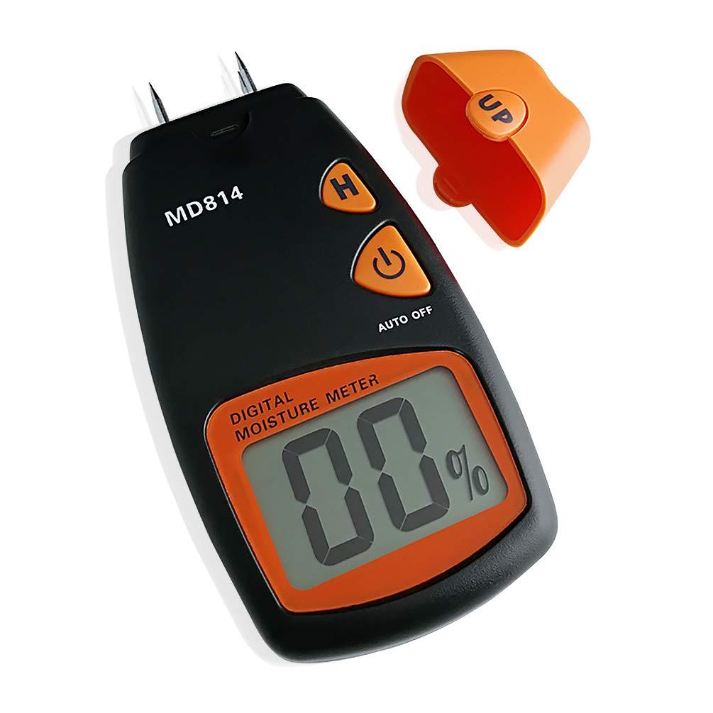 Medidor de humedad de madera AMTAST Digital MD814, detector de humedad de bambú de árboles de madera de 4 pines con pantalla LCD, rango de medición 5% - 40%