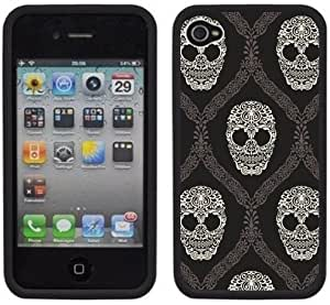 Skulls Damask Handmade iPhone 4 4S Black Hard Plastic Case