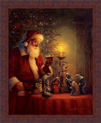 Spirit Santa (The Spirit Of Christmas by Greg Olsen Nativity Scene 14x18 Framed Art Print Picture)
