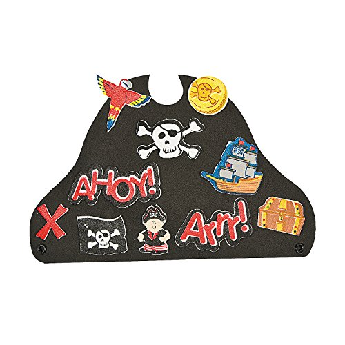 Fun Express 12 ~ Foam Pirate Hats with Stickers ~ Includes Vinyl Expandable Coil Bands and 426 Self-Adhesive Foam Shapes ~ Approx. 9 1/2