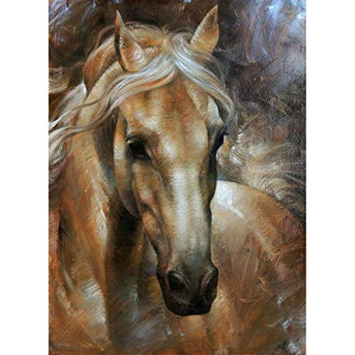 5D Diamond Painting Clearance! Quaanti Animal DIY 5D Diamond Painting by Number Kit, Full Drill Running Horse Flowers Rhinestone Embroidery Cross Stitch Supply Arts Craft Canvas Wall Decor (A)
