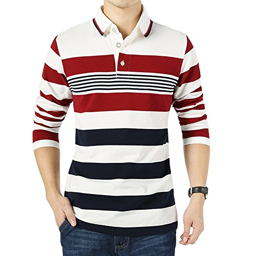 - Wishere New Men's Fashion T-Shirt Cotton Striped Long-Sleeved Polo Shirt Red