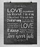 """1st Corinthians 13 Fine Art Print """" Love is Patient Love is Kind"""", First Anniversary Gift"""
