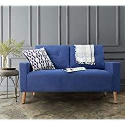 Living Room Pawnova Upholstered Mid Century Loveseat Sofa for Living Room, Modern Design Sofa with Tufted Back, Blue modern sofas and couches