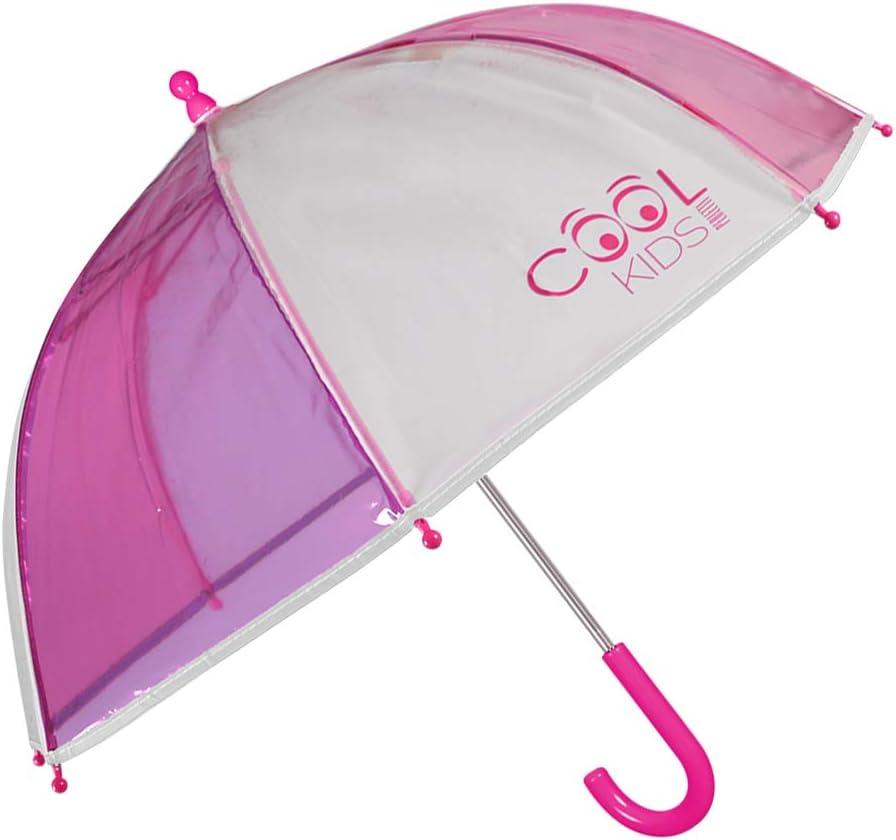 Fille 3//6 Ans Long avec D/étails Color/és et R/éfl/échissants Parapluie Transparent Cloche Enfant Perletti Cool Kids Ouverture de S/écurit/é Diam/ètre 64 cm Parapluie Rose et Violet en PEG