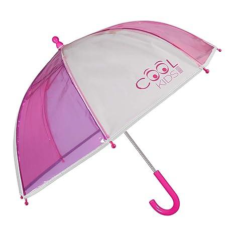 Paraguas Transparente Niña Rosa y Morado con Ribete ...