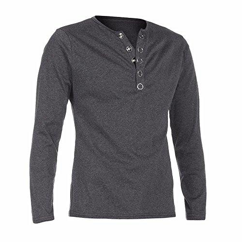 (Realdo Hot Clearance Sale Mens Autumn Winter Solid Long Sleeve Henley Tshirt Tops (XX-Large,Dark)