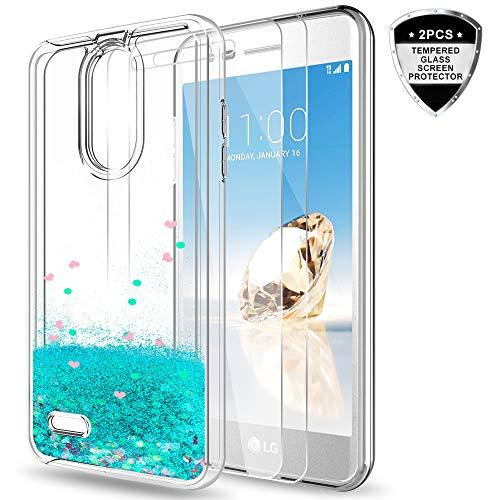 LG Aristo 2 Plus/Aristo 2/Zone 4/Tribute Dynasty/Fortune 2/Risio 3/Rebel 3 LTE Case w/Tempered Glass Screen Protector for Girls Women,LeYi Glitter Liquid Phone Case for LG K8 Plus 2018 ZX Turquoise
