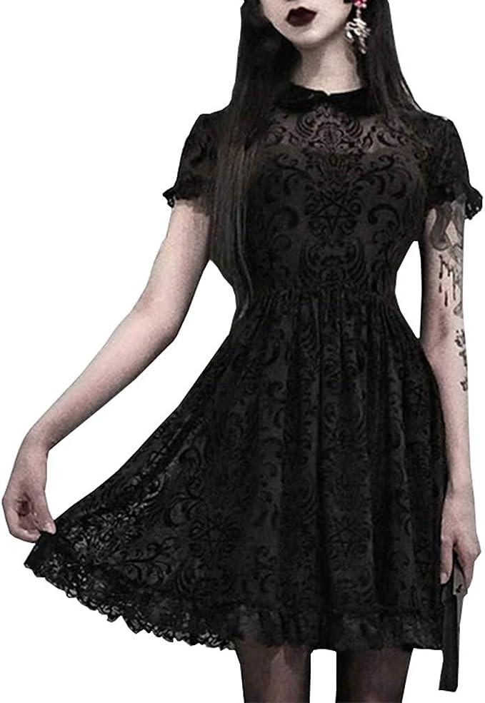 fpengfashion - Vestido gótico para mujer, cintura alta, manga corta, minifalda para mujeres Negro S: Amazon.es: Ropa y accesorios