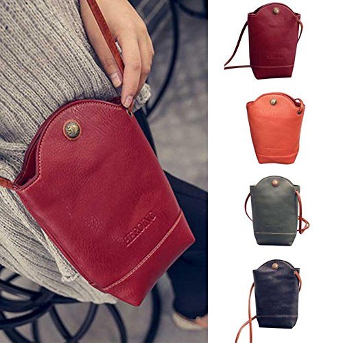 Women Vintage Satchel Slim PU Body Cover Shoulder for Red Bags Leather Crossbody Bags Small CieKen qIwZ5B4I